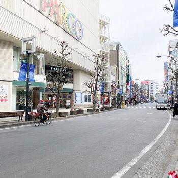 目の前は人通りが多い道路です
