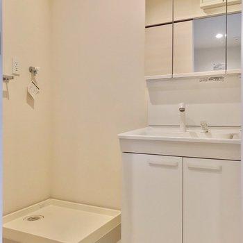 大きな鏡付きの洗面台で、朝の支度もラクラクです。(※写真は2階の反転間取り別部屋のものです)