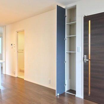 反対側にはちょっとした収納と、キッチン向かいに脱衣所がありました。(※写真は2階の反転間取り別部屋のものです)