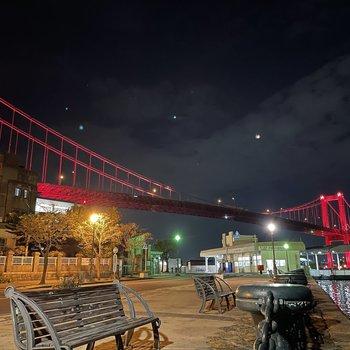 若戸大橋の夜景も有名ですね。これは絶景!近くにこの夜景があるなんて・・