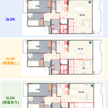 2LDK/3LDKなどライフスタイルに合わせ6パターンの間取りを選べます