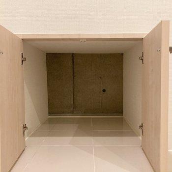 脱衣所は階段下に位置していて、収納がありますよ。
