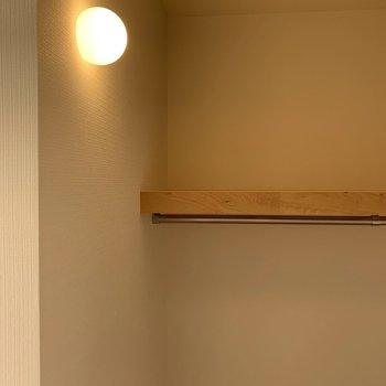 さりげなくウォークインクローゼット内には照明が※写真は3階似た間取り別部屋のものです