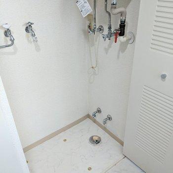 洗濯機置場は玄関横の扉の中にあります。