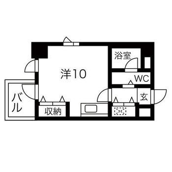バルコニー付きシンプルな1Rのお部屋です。