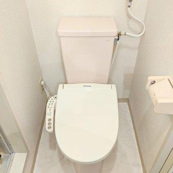 洗面台の向かい側にトイレが有ります。