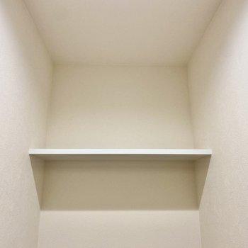 上部のシェルフには洗剤やペーパーなど置いておけますね。