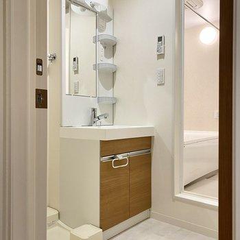 脱衣所にはスマートな洗面台。