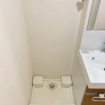 左には洗濯機置き場がありました。