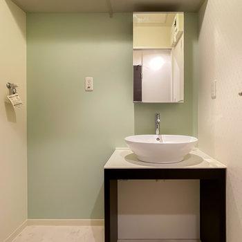 洗面台がなんとも可愛らしいんです……!ここの壁もエメラルドグリーンに。天井近くには棚も!