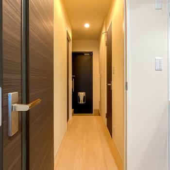 廊下はダウンライトでとっても明るい空間に。
