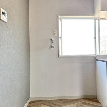 横に冷蔵庫と洗濯機が並べて置けます。