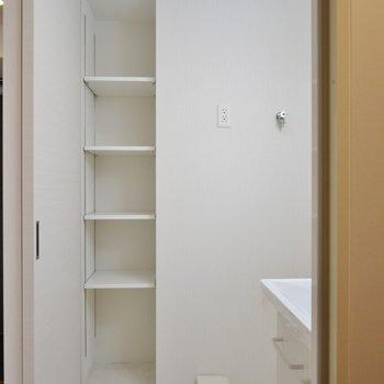 脱衣所の収納は嬉しい♪(※写真は9階の同間取り別部屋、モデルルームのものです)