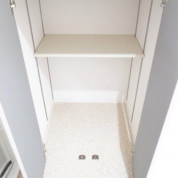 洗面台の向かいには戸棚があります。