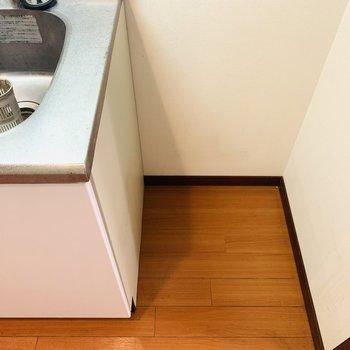 その右側には冷蔵庫置き場。