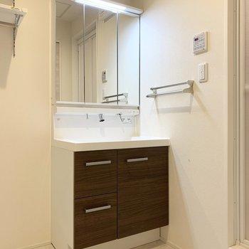 洗濯機置場のお隣にシャンプードレッサー。水栓がスタイリッシュ◎(※写真は2階の反転間取り別部屋のものです)