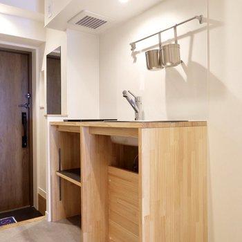 【イメージ】キッチンはシンクだけついてコンロはなしです。卓上のIHコンロを置くのがいいかも。