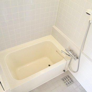 奥は浴室。適度な大きさです。※写真は2階の同間取り別部屋のものです