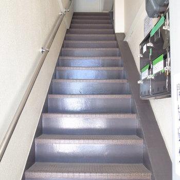【共用部】エントランスらしい空間はなく、マンションのドアを開けたらすぐ階段です。