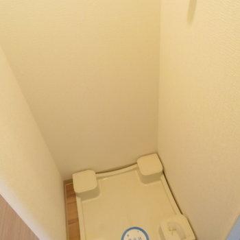 廊下に洗濯機置き場が(※写真は8階の同間取り別部屋のものです)