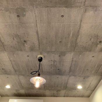 天井はコンクリ風。洋室にはダウンライトが4つあります。※写真の雑貨はサンプルのものです