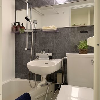 横長な鏡と大きめのシャワーヘッドが嬉しいポイント。