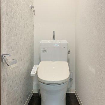 ゆったりとした個室のトイレ。