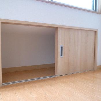 LDK、洋室の窓の下にも小さな収納スペースがあります。
