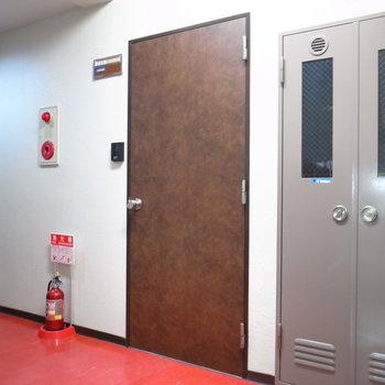 【共用部】革張りっぽい玄関ドア。床が赤い絨毯に見えてくる…。