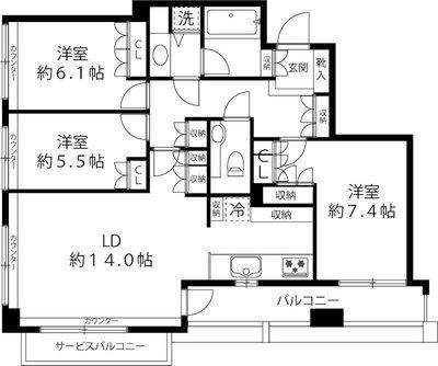 ファミール新宿グランスィートタワーの間取り
