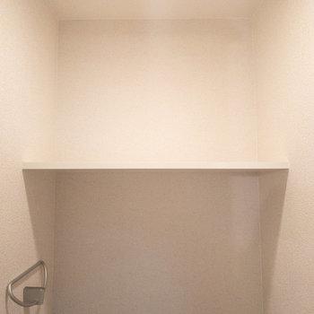 トイレにも棚があるのでトイレットペーパーが収納できますね!