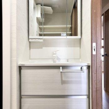 洗面台も独立タイプ。スタイリッシュなデザインです。