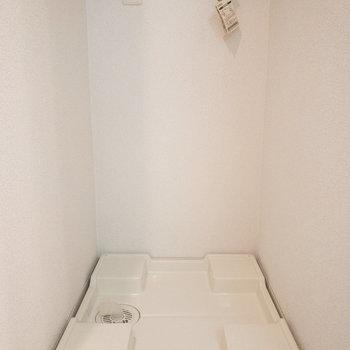 壁には洗剤などが置けるようになっています◎