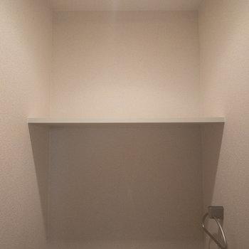 トイレの上にも棚があるので、トイレットペーパーが収納できます。