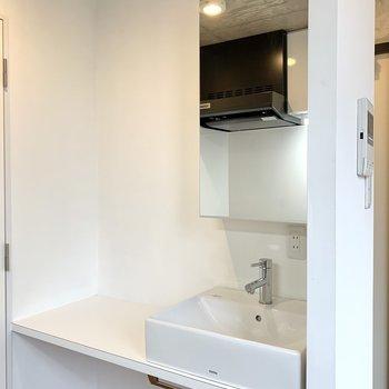 反対側には洗面台が。