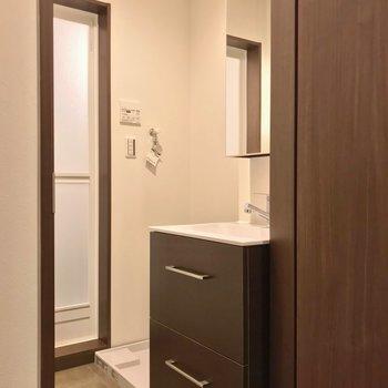 脱衣所にはスタイリッシュな洗面台。