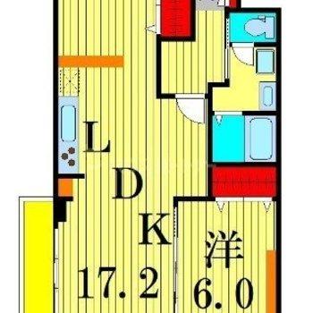 2人入居可能、1LDKタイプのお部屋です。