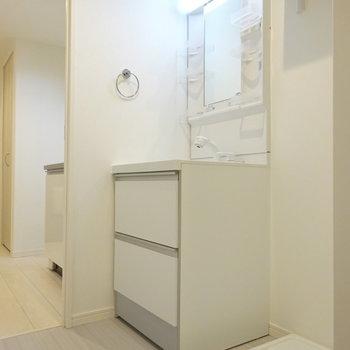 脱衣所に洗面台と洗濯機置き場。(※写真は1階反転間取り別部屋のものです)