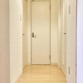 右ドアが洋室、左ドアがサニタリー、突き当りがトイレのドアです。