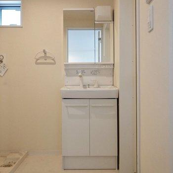 コンパクトな独立洗面台。右手には浴室が。※写真は1階の反転間取り別部屋、清掃前のものです