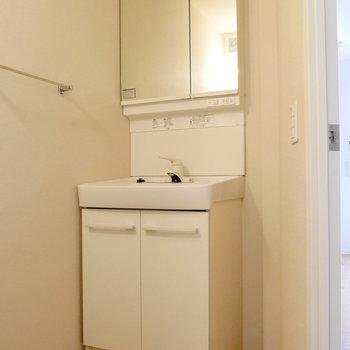 真ん中ドアを開いて脱衣所。ここに独立洗面台。※写真は1階反転間取り別部屋のものです