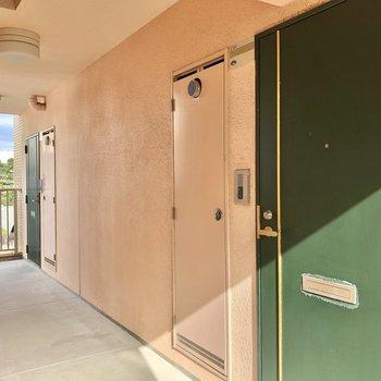 共用廊下。1フロアに2部屋なのです。