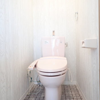 ウォシュレットつき!うっすらピンクのトイレでした。