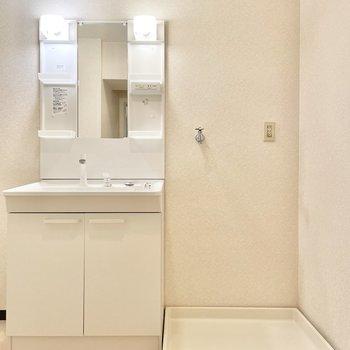 洗面台と洗濯機置き場はお隣同士。