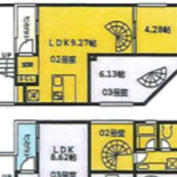 メゾネットタイプの1LDK。※黄色の部分が今回のお部屋になります。