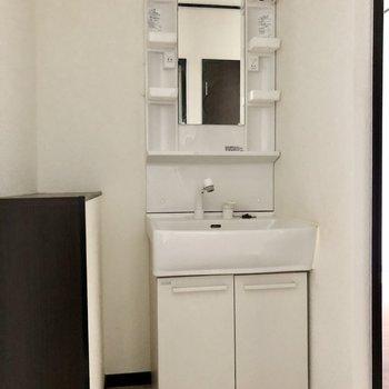 洗面台も独立タイプ。コスメなど横に並べれそう!