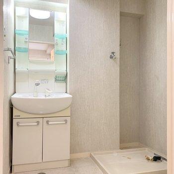 まず見えたのがユーティリティのドア。脱衣所にシャンプードレッサーと洗濯機置場。(※写真は2階の同間取り別部屋のものです)