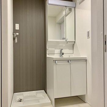 独立洗面台はノズルが伸びるから洗いやすい!(※写真は1階同間取り別部屋のものです)