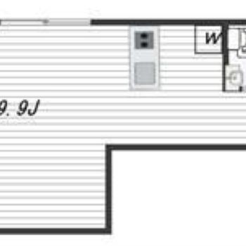 コの字型のようなお部屋です。