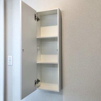 壁の収納にはシャンプーなどの詰め替えを入れておこうかな。